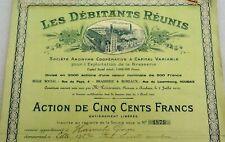 action de 500 francs verte - brasserie roubaix - les débitants réunis - bière