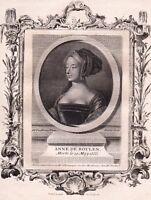 Portrait XVIIIe Anne de Boleyn Reine Consort Angleterre Henri VIII d'Angleterre