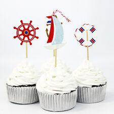 24pcs Ocean Sailor Theme Party Cake Topper Pick Wedding Favor Birthday Decor
