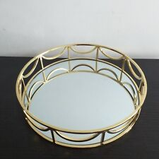 24 cm Round Gold Mirror Candle Plate Decorative Tray Wedding Table Decor Plate