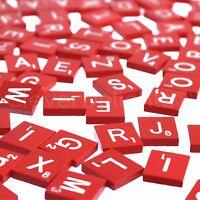 100 Wood Scrabble Tiles - Red Color - 1 Complete Set - Game Crafts Weddings