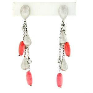 18K White Gold Rose Quartz Bead & .12ctw Diamond Teardrop Tassel Dangle Earrings
