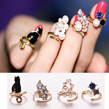 Women's Punk Crystal 3D Nail Art Midi Above Knuckle Band Finger Tip Ring ^