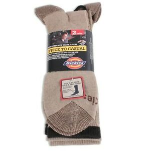 Dickies Office to Casual Asst Khaki Heather Socks Men's 2 Pack Fits Shoe 6-12