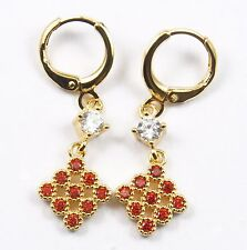 Women's 18 Carat Gold Plated Red Zircon drop dangle Huggie Earrings Jewellery