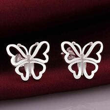 *UK STORE* 925 SILVER PLT SIMPLE ELEGANT STUD EARRINGS BUTTERFLY LADIES WOMENS