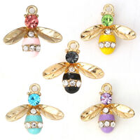 10Pcs Zircon Alloy Honeybee Bees Charms Pendants DIY Carfts Jewelry Findings
