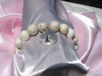 White Turquoise Stretch Bracelet with Tree of Life Charm # 105
