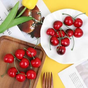 Artificial Cherries Fake Fruit Model Desk Ornament Home Kitchen Party Decoration