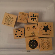 Stampin Up Polka Dots & Petals Wood Mounted Rubber Stamp Set of 8 Flowers Circle