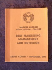Beef Marketing Management and Nutrition 1971 short agricultural college course