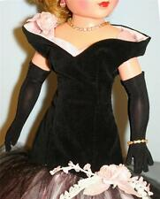 "FOR CISSY: LONG Black Over the Elbow GLOVES 20-21"" Vintage Fashion Doll 14R"