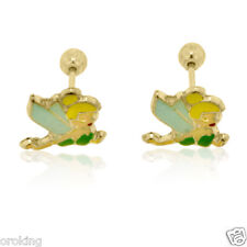Tinkerbell Stud Earrings in 10kt YG with Enamel for Children & Adults