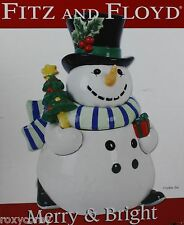 Christmas Fitz and Floyd Merry Bright Snowman Cookie Jar 12 in Tall NIB