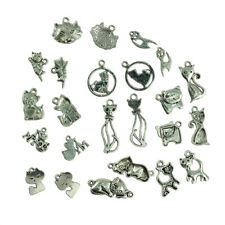20pcs/Lot Silver Cats Beads Charm Pendant for Necklace Bracelet Findings DIY