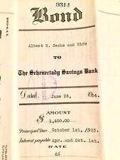 Antique Bond Certificate $1,400 SCHENECTADY SAVINGS BANK 1934 New York EUC RARE!