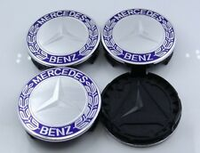 NEW 4 SETS 75mm LIGHT BLUE CENTER WHEEL HUB CAP BADGE EMBLEM FOR MERCEDES-BENZ