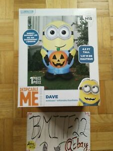 Airblown Gemmy Despicable Dave With Pumpkin Minion H15 Halloween Inflatable New