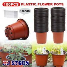 100PCS Plastic Plant Flower Pots Garden Nursery Seedlings Pot Containers & Tags