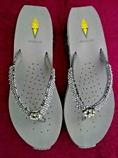 "Volatile - Women's Silver ""Lexie"" Jeweled Wedge Thong Sandals Size 10"