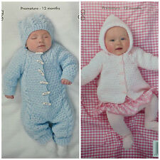 KNITTING PATTERN Baby All-in-one Suit Hat & Hooded Jacket Aran King Cole 3504
