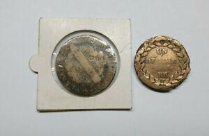 Monnaie ancienne - 2 sols Louis XVI - 1 décime Louis XVIII