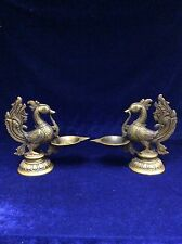 A Pair of Vintage Chinese Bronze Phoenix Candle Holder
