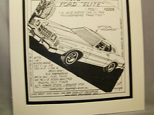 1975 Ford Elite Auto Pen Ink Hand Drawn  Poster Automotive Museum