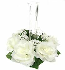 Candle Rings ~ CREAM / IVORY ~ Wedding Silk Flowers Centerpieces Unity Party