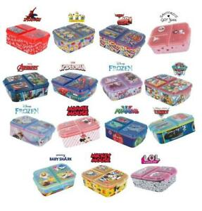 New Design Kids Character 3 Compartment Sandwich Lunch Box School Licenced Item