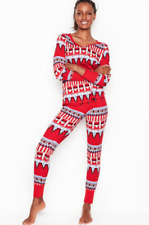 Victoria's Secret Thermal Pajamas Pajama Set Nordic Print Red Size Small