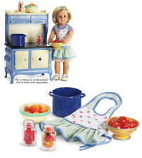 American Girl KIT'S PRODUCE & PRESERVES Jars Strainer Tomatoes Peaches Bow Apron