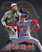 LA Angels Lithograph print of  Shohei Ohtani/ Babe Ruth Pitching