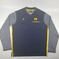 Michigan Wolverines Football Jordan Coaches 1/2 Zip Pullover Dri-Fit Navy Blue