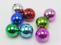 "15 Shiny Mixed Color Metallic Acrylic Large Christmas Round Beads 20mm(4/5"")"