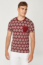 Brave Soul Mens Aztec All Over Print T Shirt Red XL Extra Large New Pocket Deon