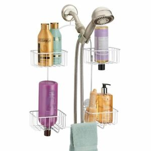 mDesign Shower Caddy for Hand Held Shower Head and Hose, 4 Baskets - White