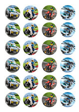 24 assorted Lego City 4cm round cupcake edible images toppers