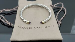 David Yurman 5mm Cable Classic Bracelet with Amethyst and 14K Gold Size Small