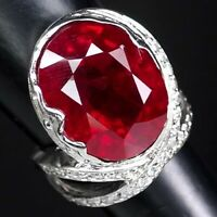 PIGEON BLOOD RED RUBY 22 CT.SAPPHIRE 925 STERLING SILVER JEWELRY RING SZ 6.25