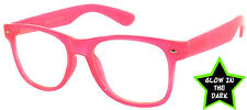 GLOW IN THE DARK VINTAGE RETRO OWL CLEAR LENS SUNGLASSES PARTY PINK