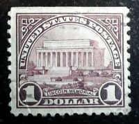 Beautiful 1922 1925 Lincoln Memorial $1 Dollar Stamp NH Scott# 571 J218