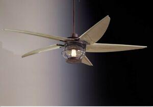 """MINKA AIRE 5-BLADE MAGELLAN 60"""" INDOOR / OUTDOOR CEILING FAN + LIGHT - NOB"""