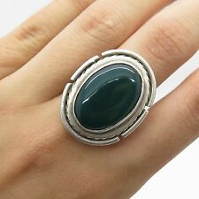 Mexico Vtg 925 Sterling Silver Large Green Onyx Gemstone Handmade Ring Size 9