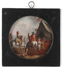 """Philips Wouwerman-Follower """"In the military camp"""", oil miniature, 17th/18th C."""