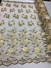 3D Flowers Embroidered On A Mesh Lace Pearls With Rhinestones Champagne By Yard