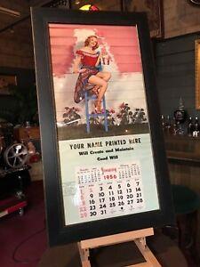 """1956 NOS Salesman Sample Framed Pinup Girl Calendar 34"""" x 17"""" """"Watch Video"""""""