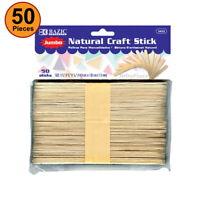 50 pcs Jumbo Natural Wood Craft Stick Light Colored School, Home, Office