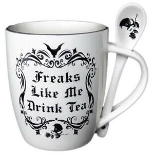 Alchemy Gothic Freaks Like Me Drink Tea Mug Gothic Bat Skull
