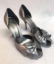 Valentino classic bow metallic silver open toe platform pumps heels shoe 37.5 EU